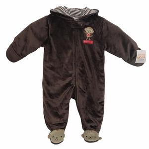 Carter's Fleece Footed Pajamas NWT Monkey Brown 6M
